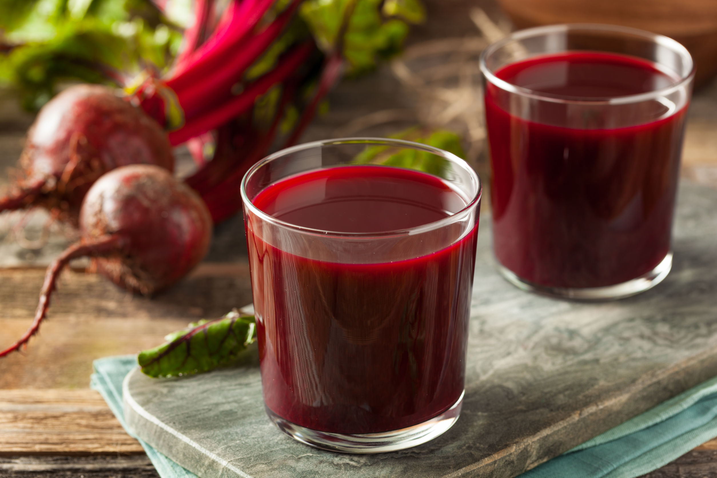raw organic beet juice in a glass
