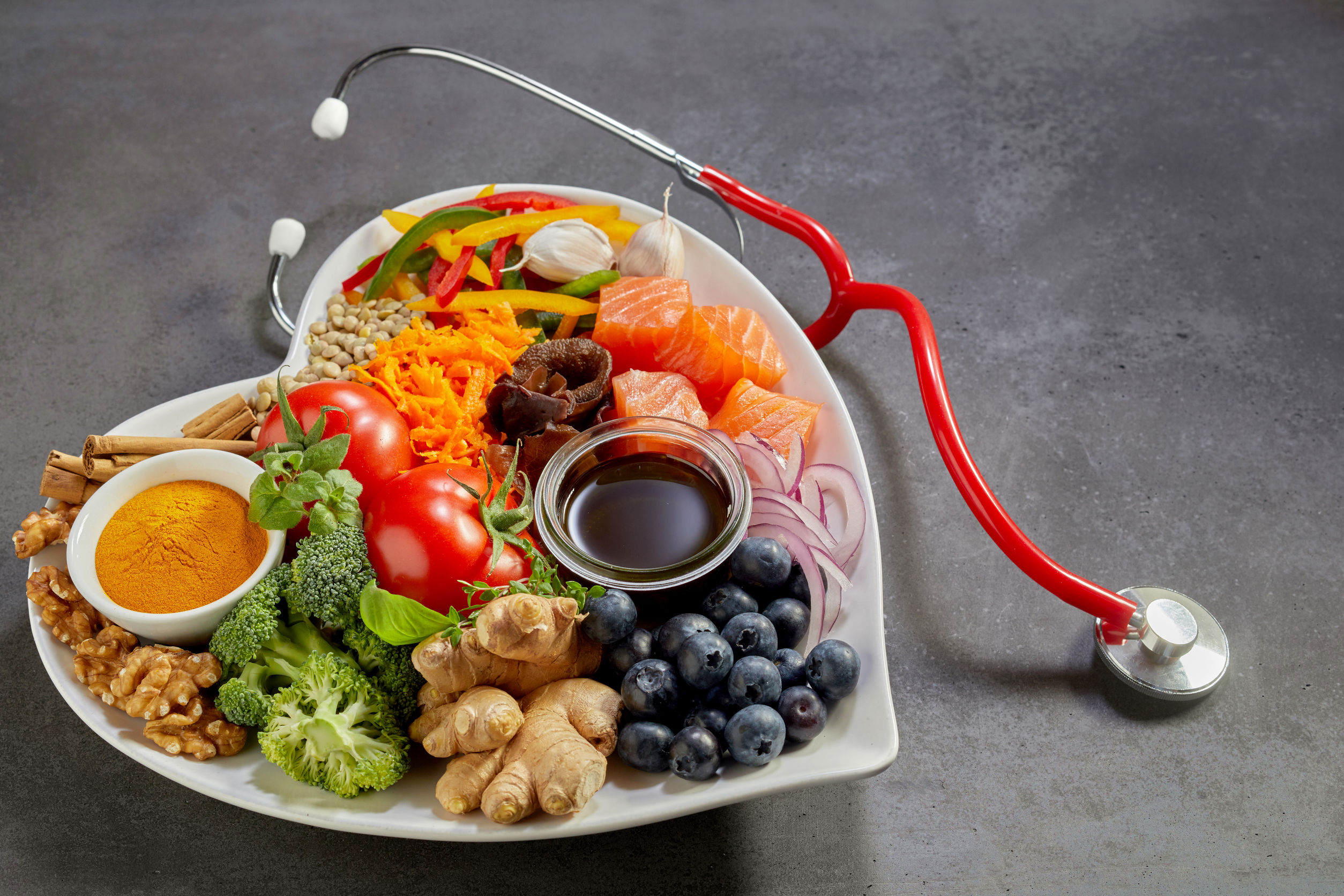 cardio health food concept with stethoscope